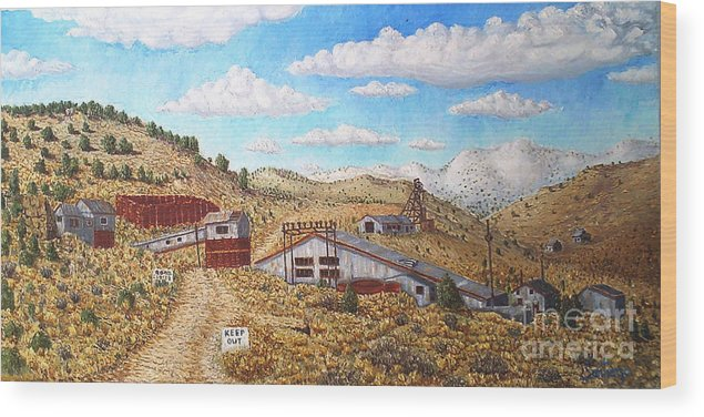 Landscape Wood Print featuring the painting Keep Out by Santiago Chavez