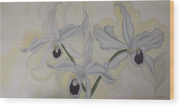 Marinella Owens Wood Print featuring the painting Lealia Purpurata  Orchide by Marinella Owens