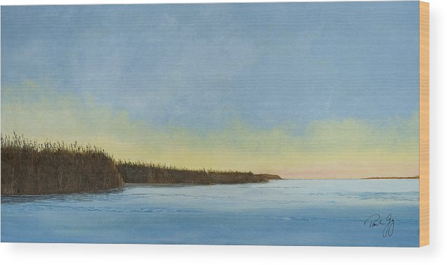 Gulf Of Mexico Wood Print featuring the painting Mississippi River Delta At Dawn by Paul Gaj