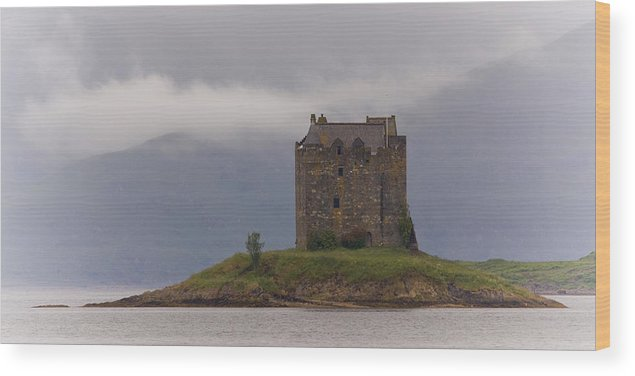 Scotland Wood Print featuring the photograph Morning Mist Castle Stalker by John McKinlay