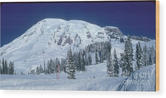 Mt. Rainier Wood Print featuring the photograph Mt. Rainier by Larry Keahey