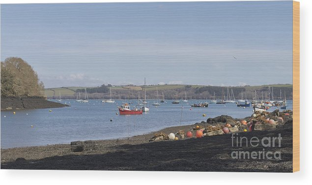 Water Wood Print featuring the photograph Mylor Creek Panorama by Terri Waters