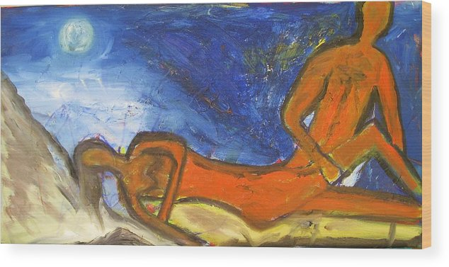 Oil Wood Print featuring the painting Night Moves by Ron Klotchman