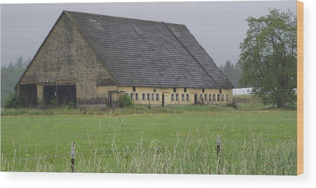 Barn Photography Wood Print featuring the photograph Old Yellow Barn  Washington State by Laurie Kidd