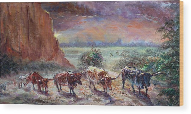 Cattle Wood Print featuring the painting Open Range by Tommy Winn