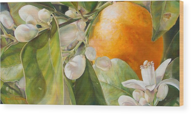 Floral Painting Wood Print featuring the painting Orange Fleurie by Dolemieux