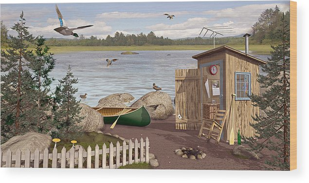 Outhouse Wood Print featuring the painting Out Thayuh by Peter J Sucy
