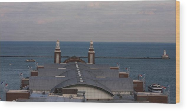 Buildings Wood Print featuring the photograph Overlooking Navy Pier by Kenna Westerman