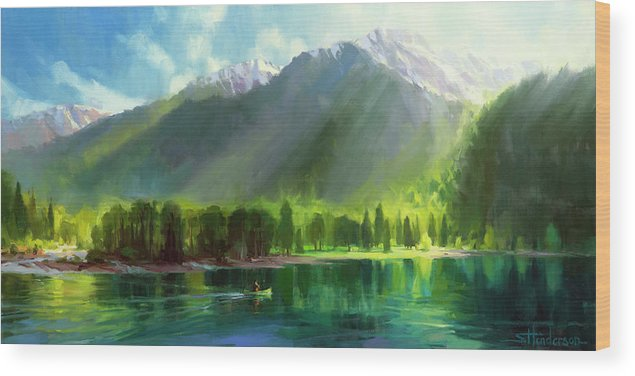 Mountains Wood Print featuring the painting Peace by Steve Henderson