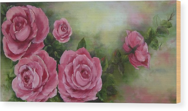 Oil Painting Wood Print featuring the painting Pink Roses by Joni McPherson