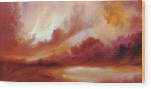 Skyscape Wood Print featuring the painting Receding Storm Sketch IIi by James Christopher Hill