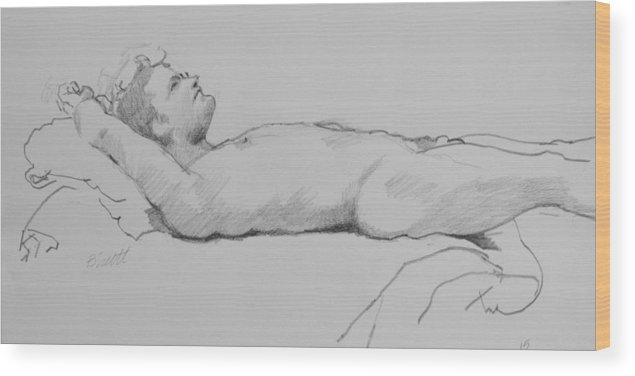 Life Wood Print featuring the drawing Reclining Nude 3 by Robert Bissett