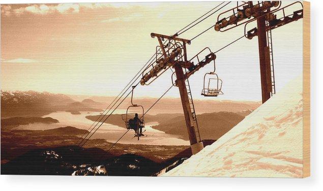 Ski Wood Print featuring the photograph Ski Lift by Robert Bissett