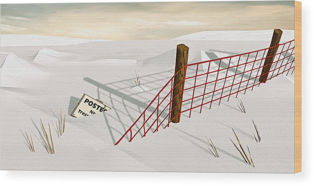 Snow Wood Print featuring the painting Snow Fence by Peter J Sucy