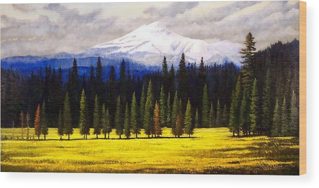 Landscape Wood Print featuring the painting Spring Meadow Mount Brokeoff by Frank Wilson