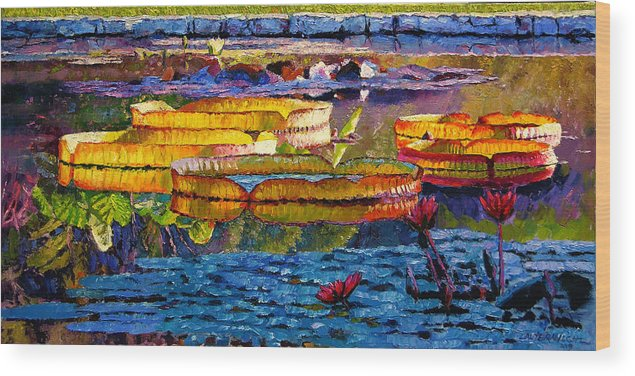 Water Lilies Wood Print featuring the painting Sun Color And Paint by John Lautermilch