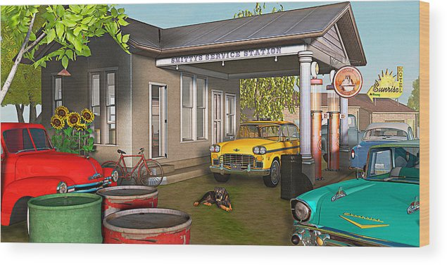 Antique Cars Wood Print featuring the photograph Sunrise At Smittys by Peter J Sucy