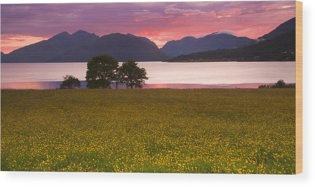 Scotland Wood Print featuring the photograph Sunset On The Ardgour Mountains by John McKinlay