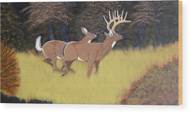 Deer Wood Print featuring the painting The King And Queen by Dalton Shiflet