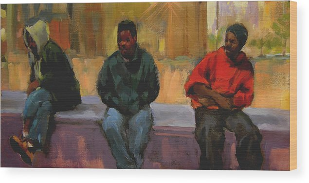 Figurative Wood Print featuring the painting Three Africans by Merle Keller