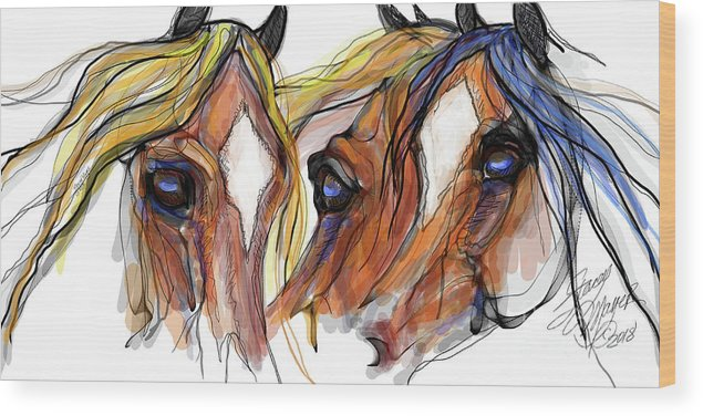 Animal Art Wood Print featuring the digital art Three Horses Talking by Stacey Mayer
