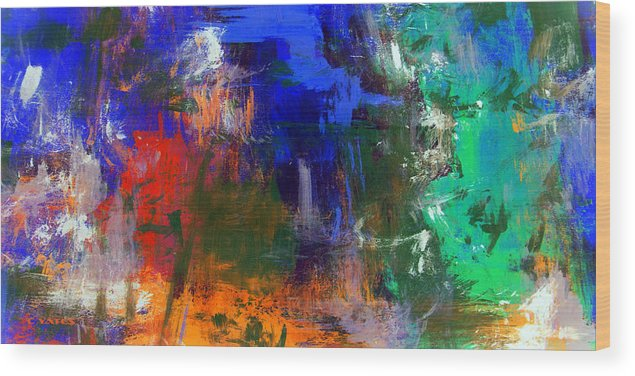 Abstract Wood Print featuring the painting Time Wanderer by Charles Yates