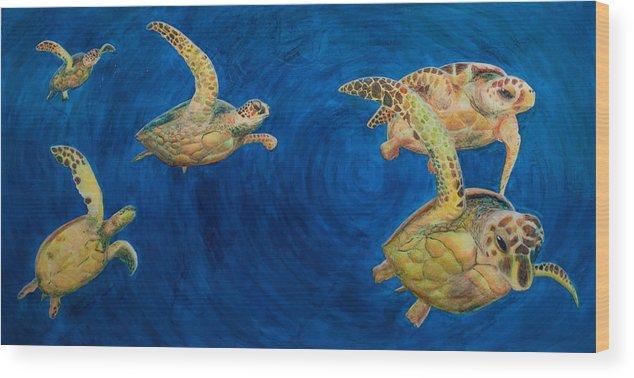 Turtles Wood Print featuring the painting Turtles by Julia Collard