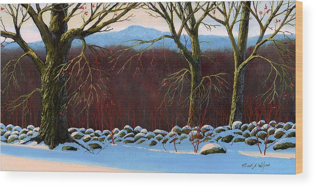 Landscape Wood Print featuring the painting Vermont Stone Wall by Frank Wilson