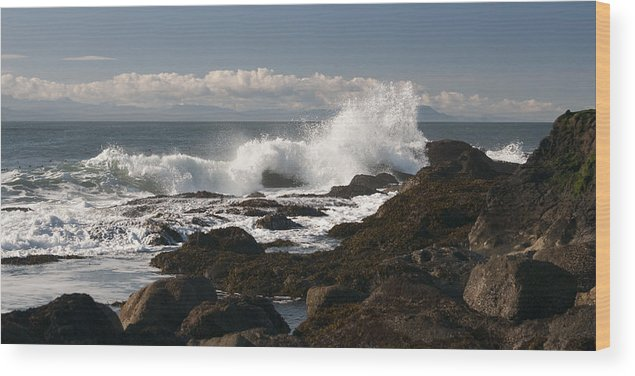 Waves Wood Print featuring the photograph Waves Crashing by Chad Davis
