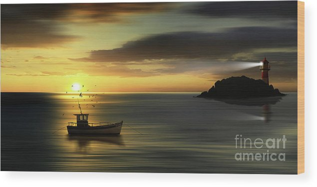 Sea Wood Print featuring the digital art When The Sun Goes Down by Monika Juengling