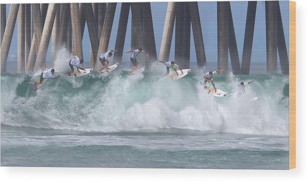 Surfing Wood Print featuring the photograph Jeremy Flores Surfing Composite by Brian Knott Photography