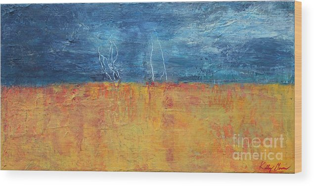 This Too Shall Pass By Kelly Gowan Kellygowan Storm Stormy Lightening Rain Rainy Tornado Field Wheat Gold Golden Orange Blue Dark Navy Night Night Time Evening Nighttime Clouds Thunder Refuge Land Landscape Horizon Wood Print featuring the painting This Too Shall Pass by Kelly Gowan