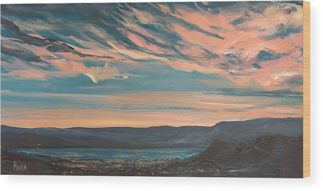 Sunset Wood Print featuring the painting Over The River by Pete Maier