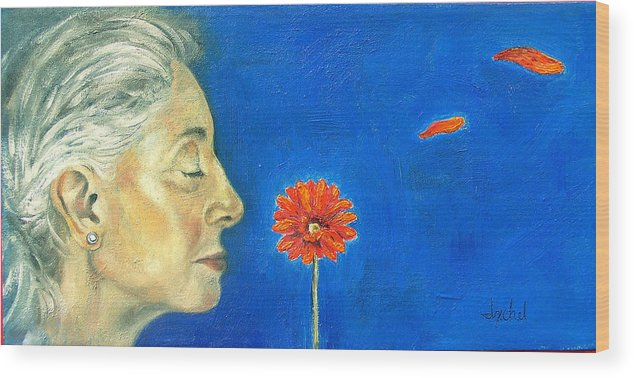 Flower Wood Print featuring the painting Orange Gerbera On Cobalt by Ixchel Amor