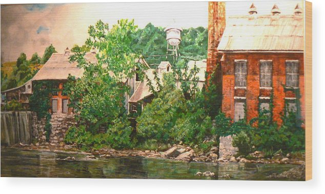 Landscape Wood Print featuring the painting Paper Mill by Thomas Akers