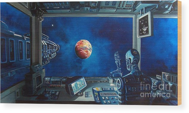 Fantasy Wood Print featuring the painting Crying Robot by Murphy Elliott