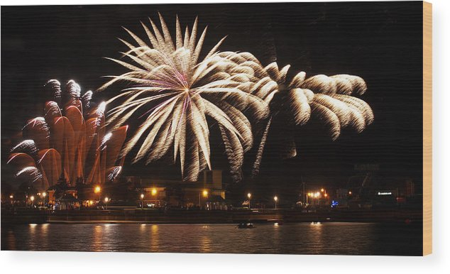 Fireworks Wood Print featuring the photograph Firework Explosions by Susan Tinsley