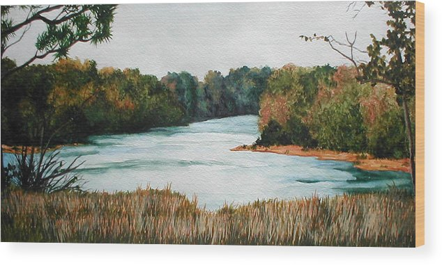 Watercolor Wood Print featuring the painting Fort Toulouse Coosa Tallapoosa River by Beth Parrish