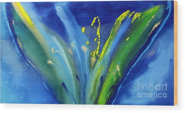 Flower Wood Print featuring the painting Spring Flower In Blue by Viola St Pierre