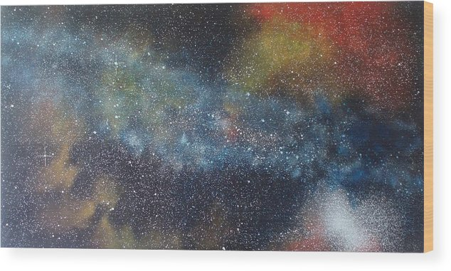 Space;stars;starry;nebula;spiral;galaxy;star Cluster;celestial;cosmos;universe;orgasm Wood Print featuring the painting Stargasm by Sean Connolly
