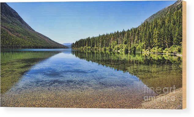 Kintla Lake Wood Print featuring the photograph The Best Beach In Glacier National Park Panorama 2 by Scotts Scapes