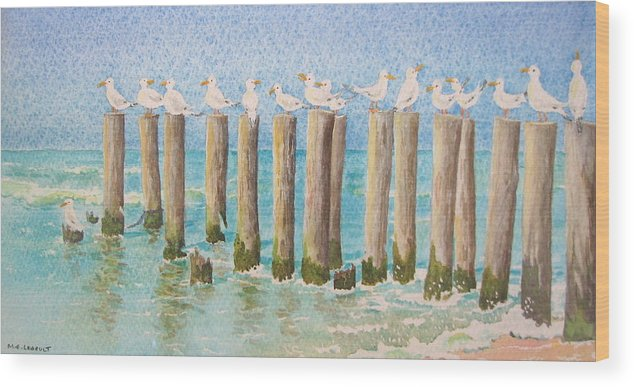 Seagulls Wood Print featuring the painting The Town Meeting by Mary Ellen Mueller Legault