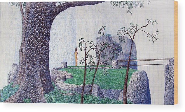 Landscape Wood Print featuring the painting The Yearning Tree by A Robert Malcom
