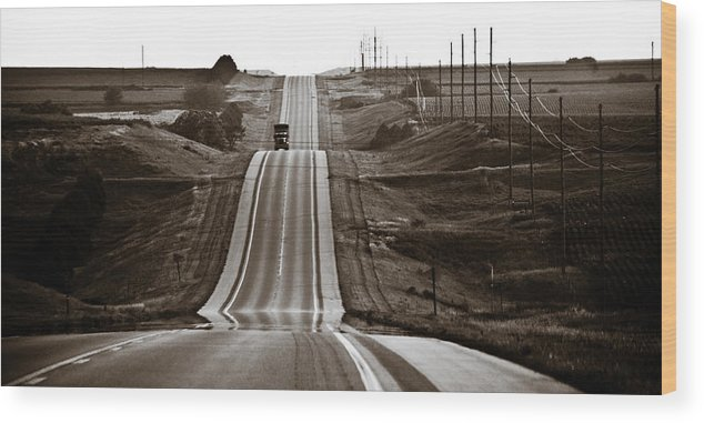 Nebraska Wood Print featuring the photograph A Country Mile 2 by Marilyn Hunt