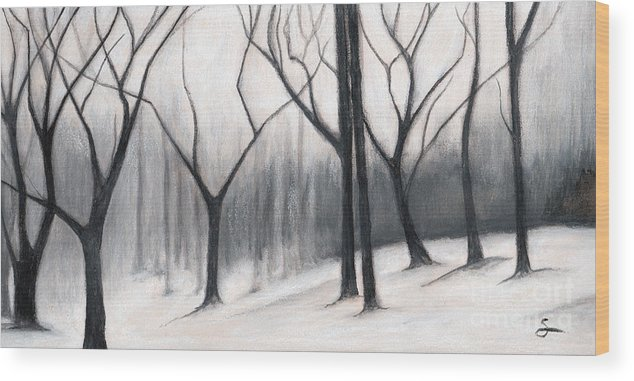 Landscape Wood Print featuring the painting Stark Trees by Scott Alberts