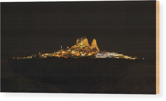 Stunning Wood Print featuring the photograph Uchisar Dark Night by Kantilal Patel