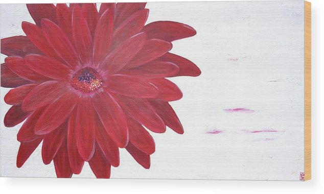 Red Gerber Wood Print featuring the painting Valentine by Holly Donohoe