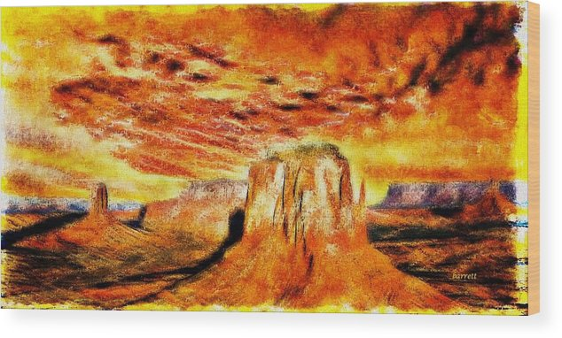 Colorful Wood Print featuring the painting The Painted Desert by Don Barrett
