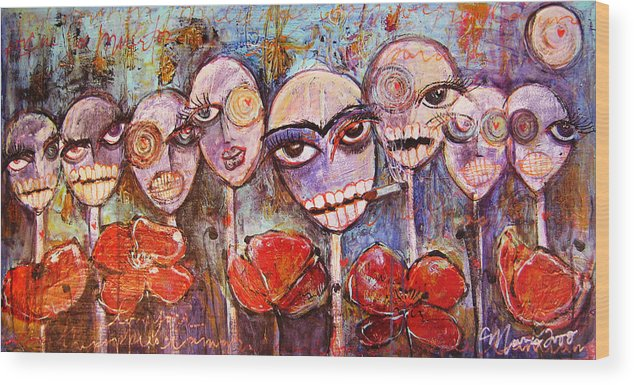 Dia De Los Muertos Wood Print featuring the painting 5 Poppies For The Dead by Laurie Maves ART