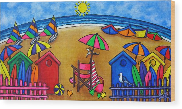 Beach Wood Print featuring the painting Beach Colours by Lisa Lorenz